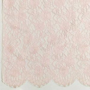 Lace Flowers Fabric Scalloped Edge Pink